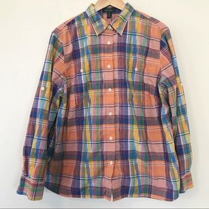 Lauren Jeans Co madras plaid button up shirt 2X